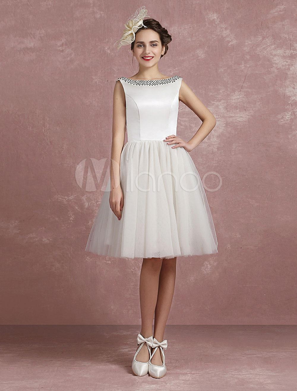 Short Wedding Dress Bateau Beading Tulle A-Line Knee-Length Bridal Dress photo