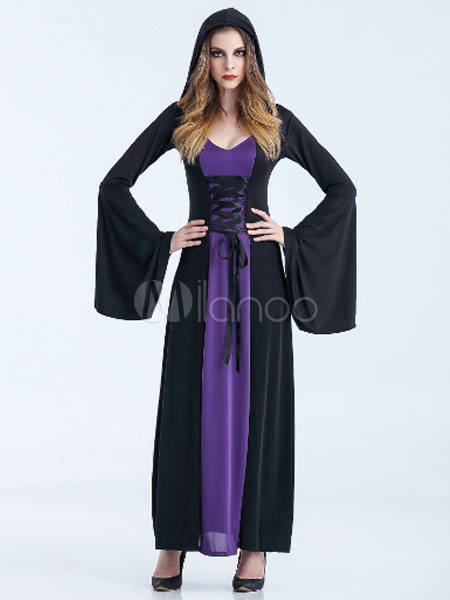 robe longue halloween costumes sorci re femme avec capuche. Black Bedroom Furniture Sets. Home Design Ideas