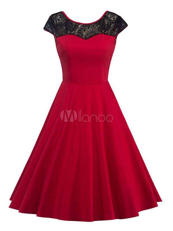 Red Vintage Dress Lace Jewel Neck Backless Cap Sleeve Pleated Skater Dress (Women\\'s Clothing Vintage Dresses) photo