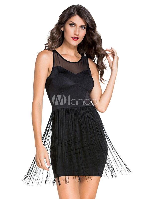 Semi-Sheer Sleeveless Fringe Bodycon Dress for Women (Women\\'s Clothing Bodycon Dresses) photo