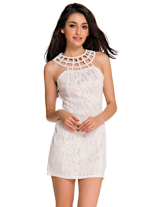 White Bodycon Dress Cut Out Lace Polyester Club Dress (Women\\'s Clothing Mini Dresses) photo