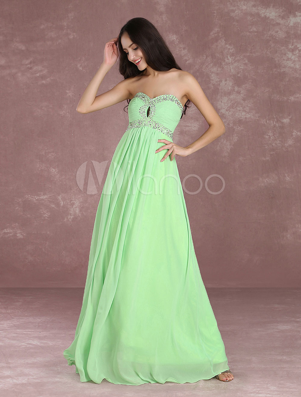 Chiffon Prom Dress Sweatheart Strapless Sequin Occasion Dress Beading Ruched Floor Length Blue Green Long Party Dress (Wedding Prom Dresses) photo