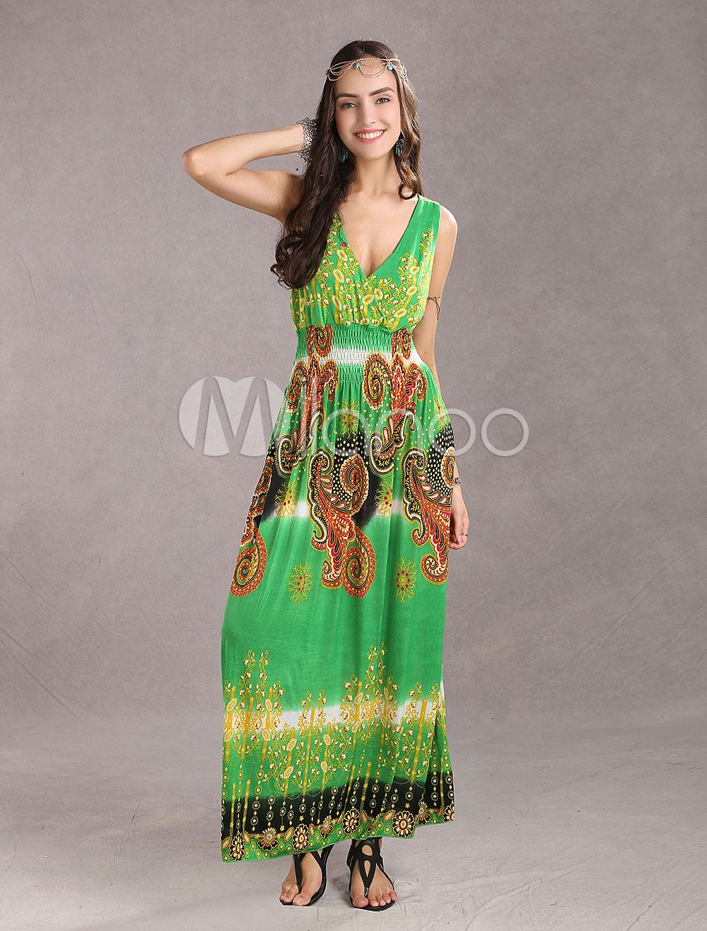 Trendy Green Meryl Deep Plunging Necklines Sleeveless Floral Ladies Maxi Dress (Women\\'s Clothing Maxi Dresses) photo