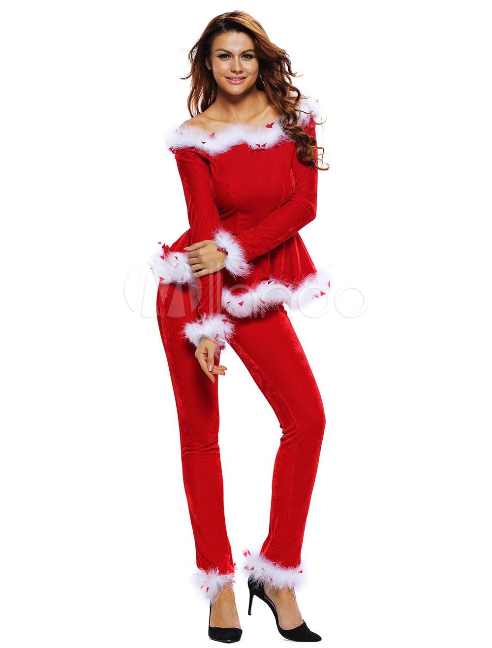 Costume da babba natale sexy rosso velluto con pantaloni - Costume da bagno velluto ...