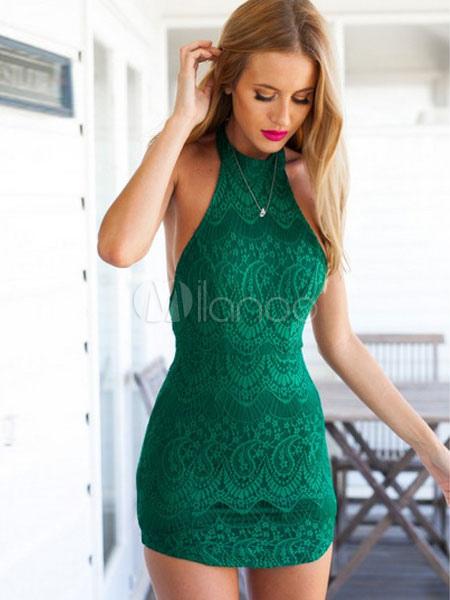 Green Mini Dress Halter Lace Sleeveless Backless Women's Pencil Dresses (Women\\'s Clothing Mini Dresses) photo