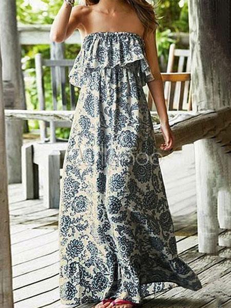 Blue Maxi Dress Boho Print Strapless Sleeveless Ruffles Backless Long Dress (Women\\'s Clothing Maxi Dresses) photo
