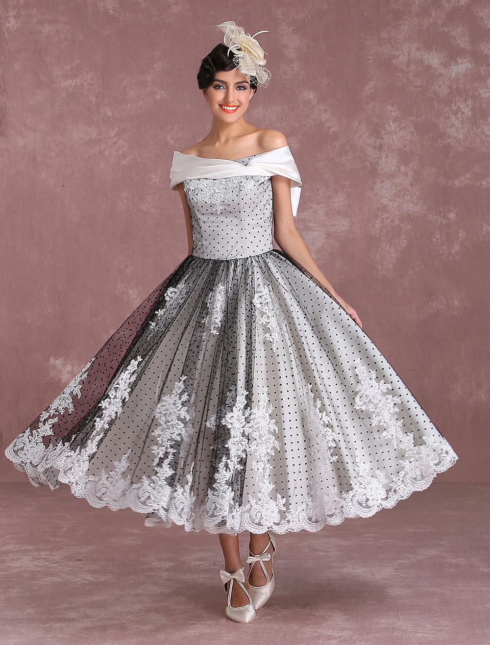 Vintage Wedding Dresses Black Short Bridal Gown Lace Off The Shoulder Polka Dot Print Bridal Dress With Bow At Back Milanoo photo