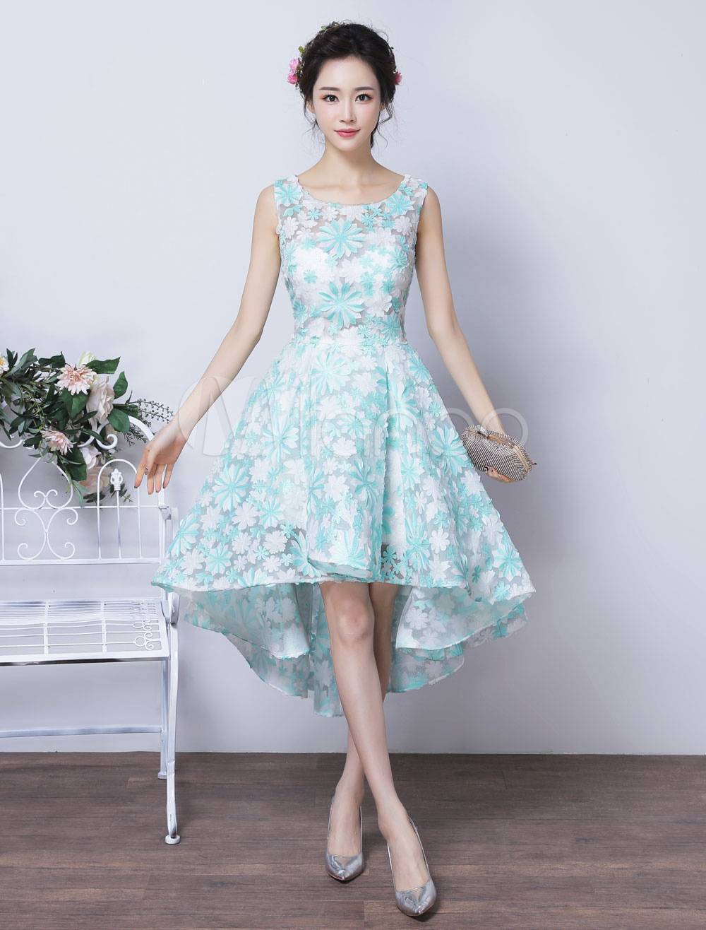Lace Prom Dresses 2018 Short Mint Green Homecoming Dress Flowers Sleeveless High Low Party Dress (Wedding) photo