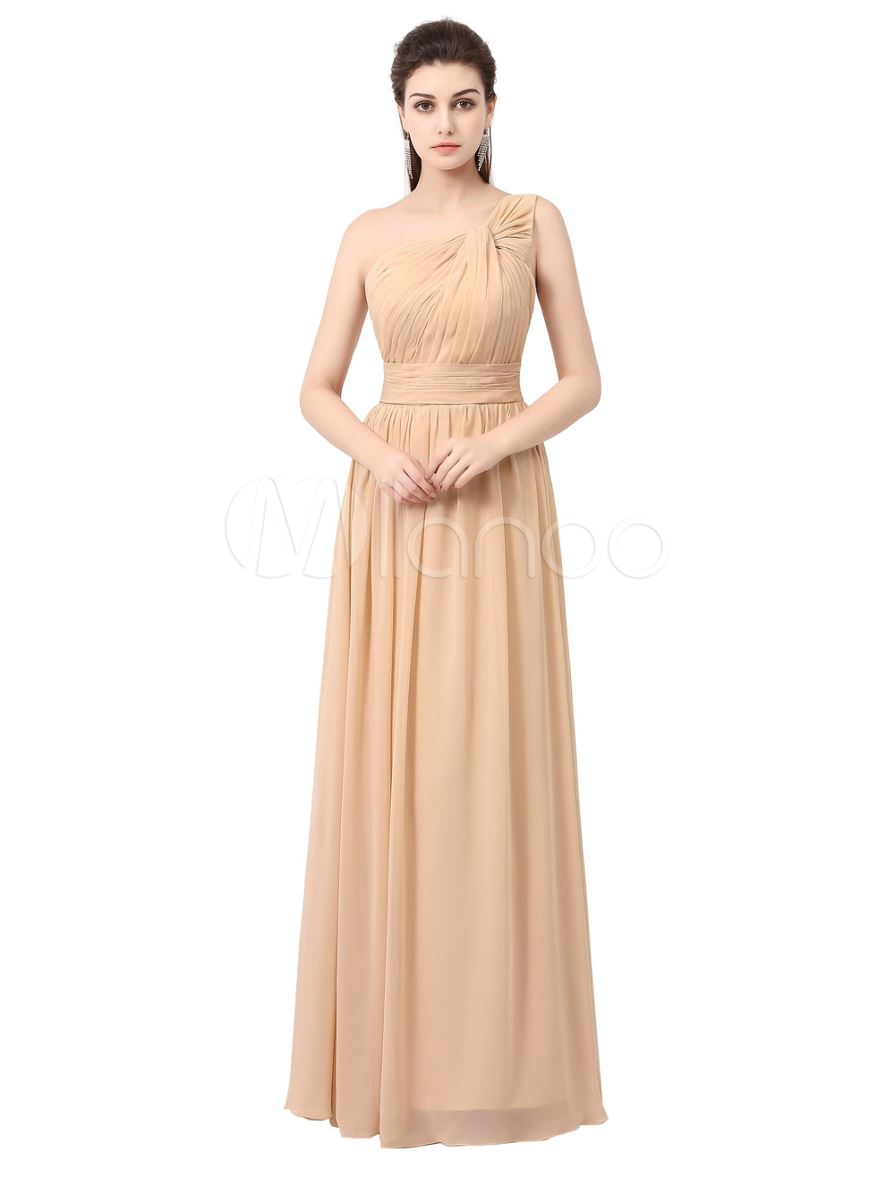 Chiffon Bridesmaid Dress Long Prom Dress Champagne One Shoulder Knotted A Line Maxi Party Dress (Wedding) photo