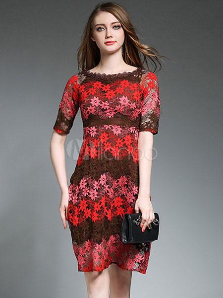 Orange Lace Dress Short Sleeve Women's Illusion Printed Summer Dresses (Women\\'s Clothing Lace Dresses) photo