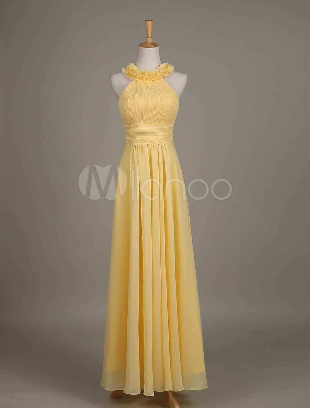 Chiffon Bridesmaid Dress Yellow Flower Crewneck A Line Long Wedding Party Dress photo