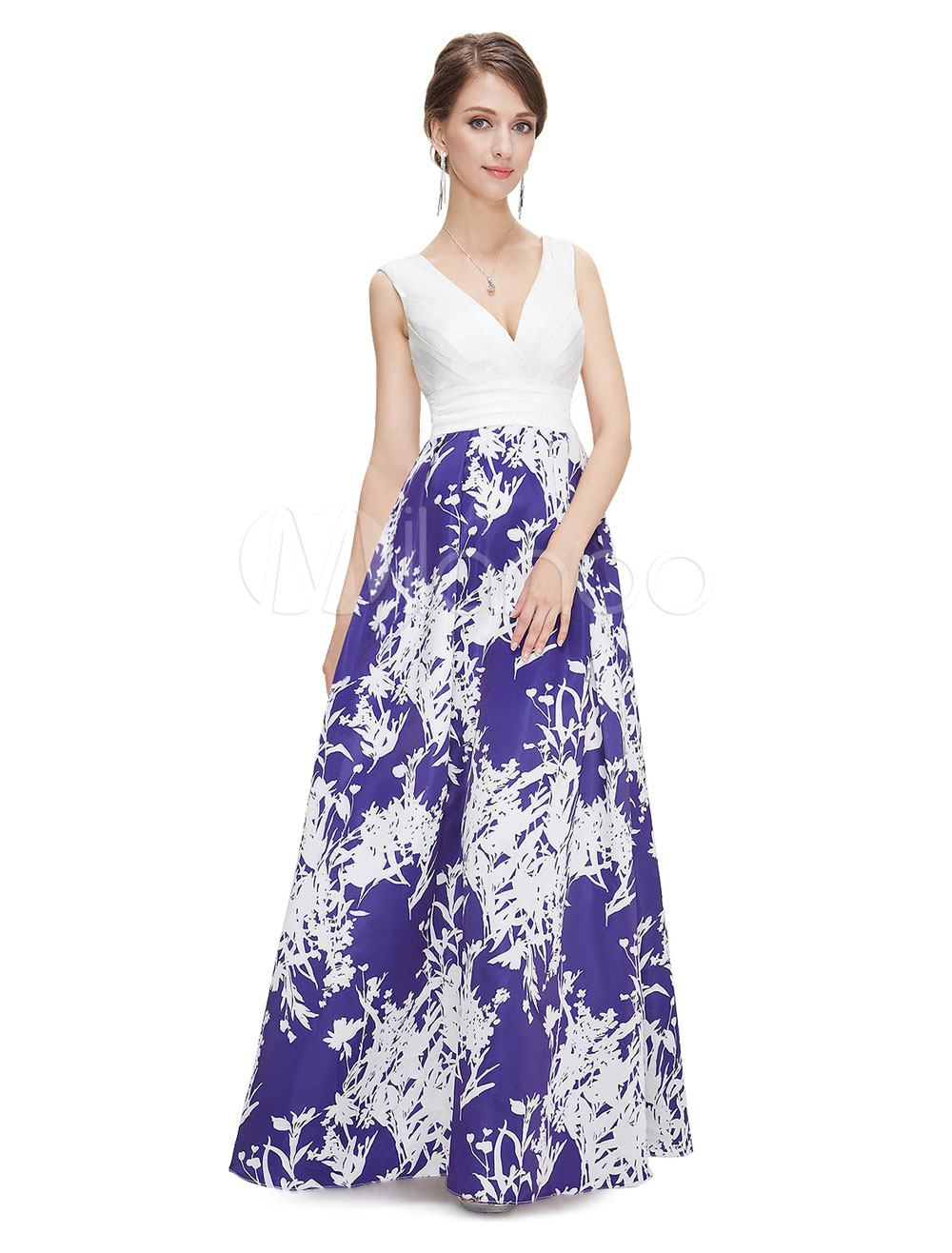 White Prom Dress Satin A Line Occasion Dress V Neck Sleeveless Printed Floor Length Party Dress (Wedding Prom Dresses) photo