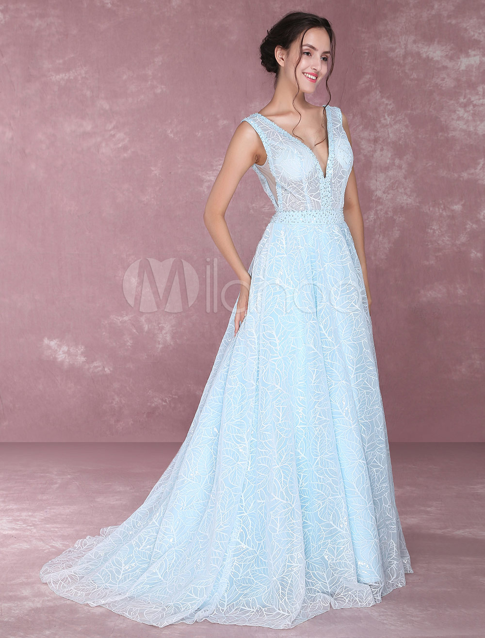 878273f3f54 Lace Pageant Dress Pastel Blue V Neck Prom Dresses Beading Illusion  Occasion Dress With Train (