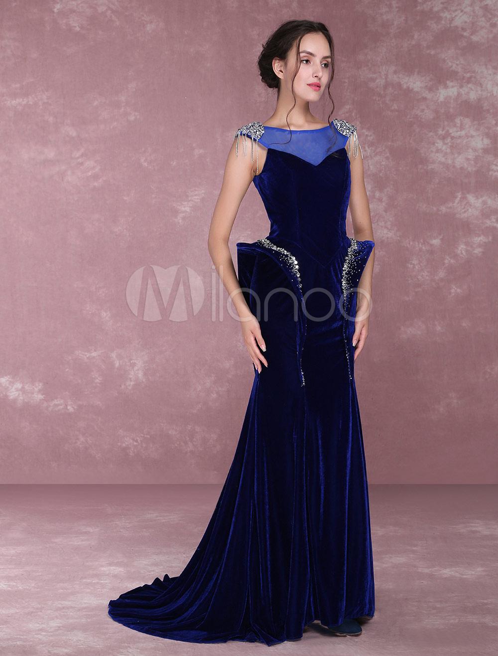 Velvet Evening Dresses Royal Blue Beading Illusion Mermaid Formal Party Dress (Wedding) photo