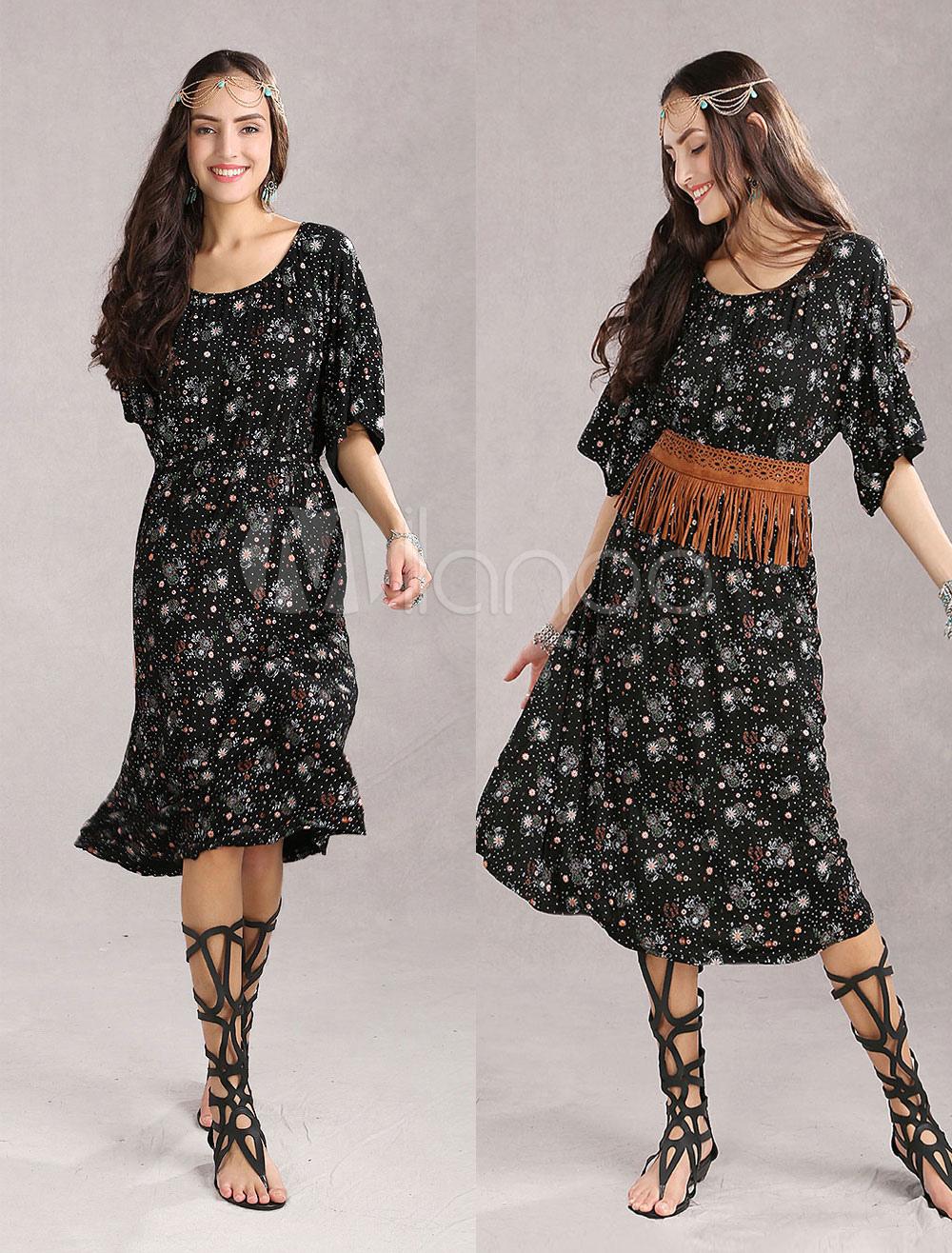 Vintage Red Floral 70% Cotton 30% Spandex Womens Dress (Women\\'s Clothing Bohemian Dresses) photo