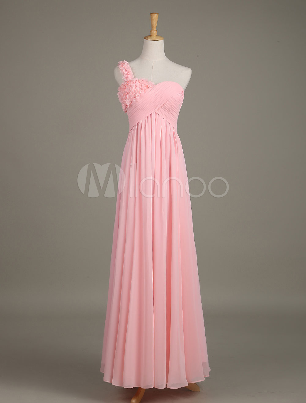 Blush Bridesmaid Dress Soft Pink One Shoulder Flower Chiffon Draped A Line Maxi Wedding Party Dress photo
