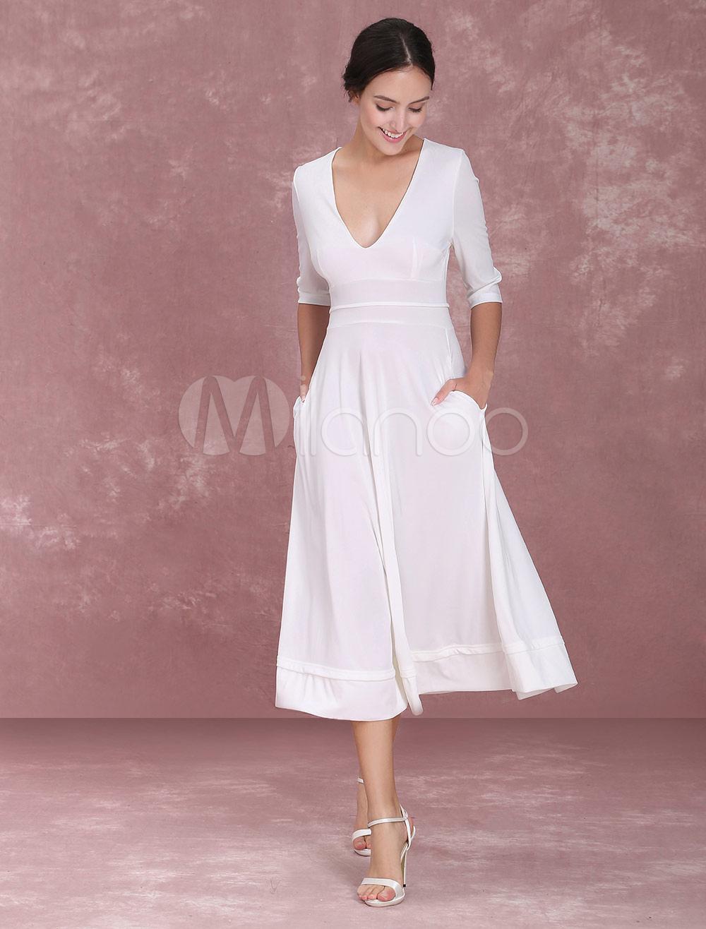 Vintage Skater Dress White Plunging Neckline Short Sleeve Pleated Fit Flare Dress (Women\\'s Clothing Skater Dresses) photo