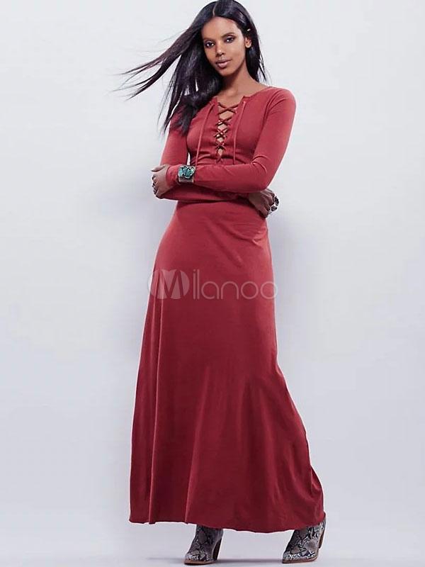 Women's Maxi Dresses Lace Up Long Sleeve Dark Red Summer Long Dress (Women\\'s Clothing) photo