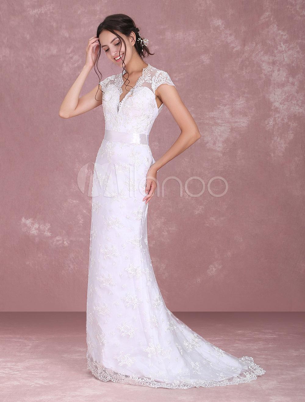 White Bridal Wedding Backless Lace Up Sash Lace Dress