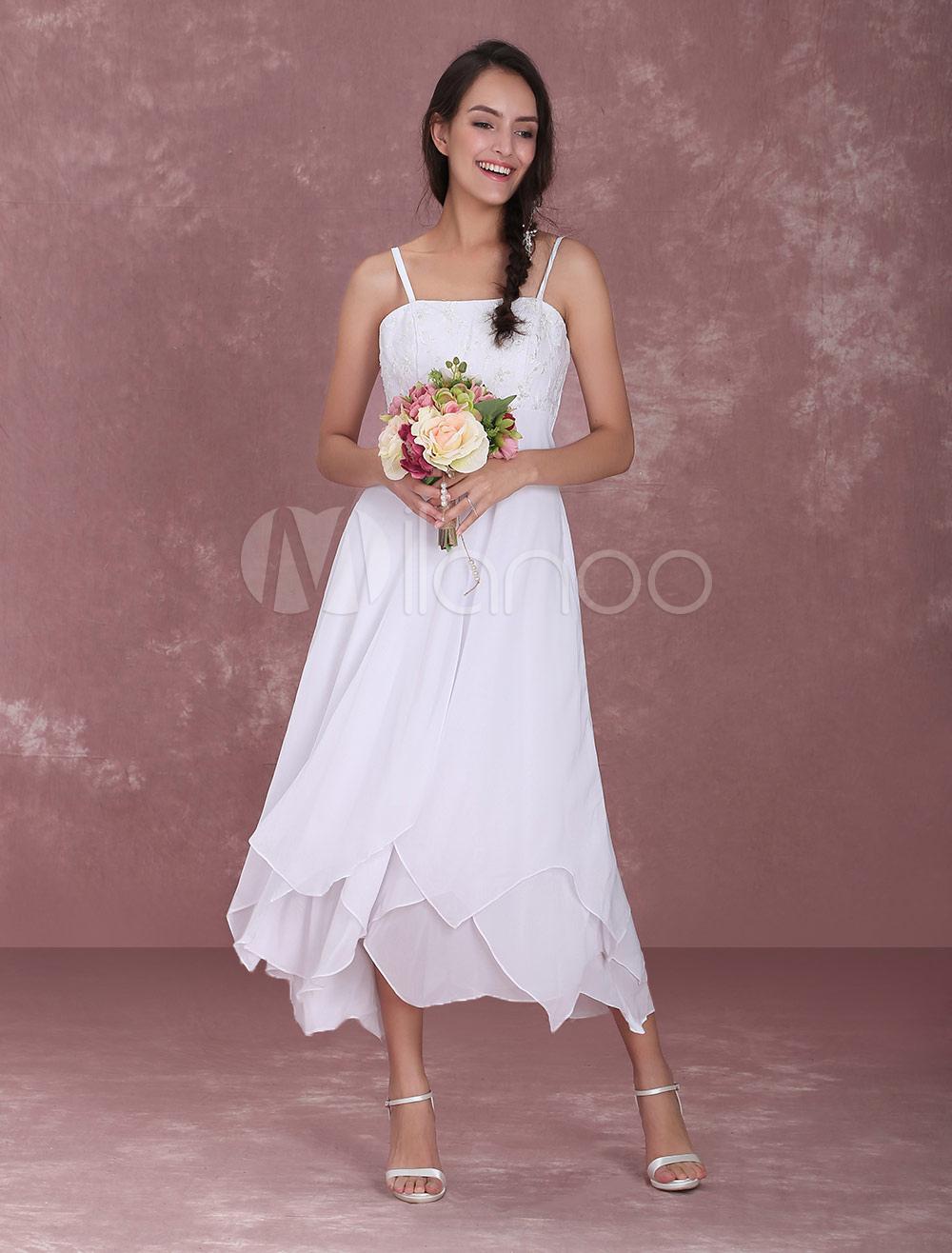 White Wedding Gown Straps Embroidered Tiered Ruffles Wedding Dress (Cheap Wedding Dress) photo