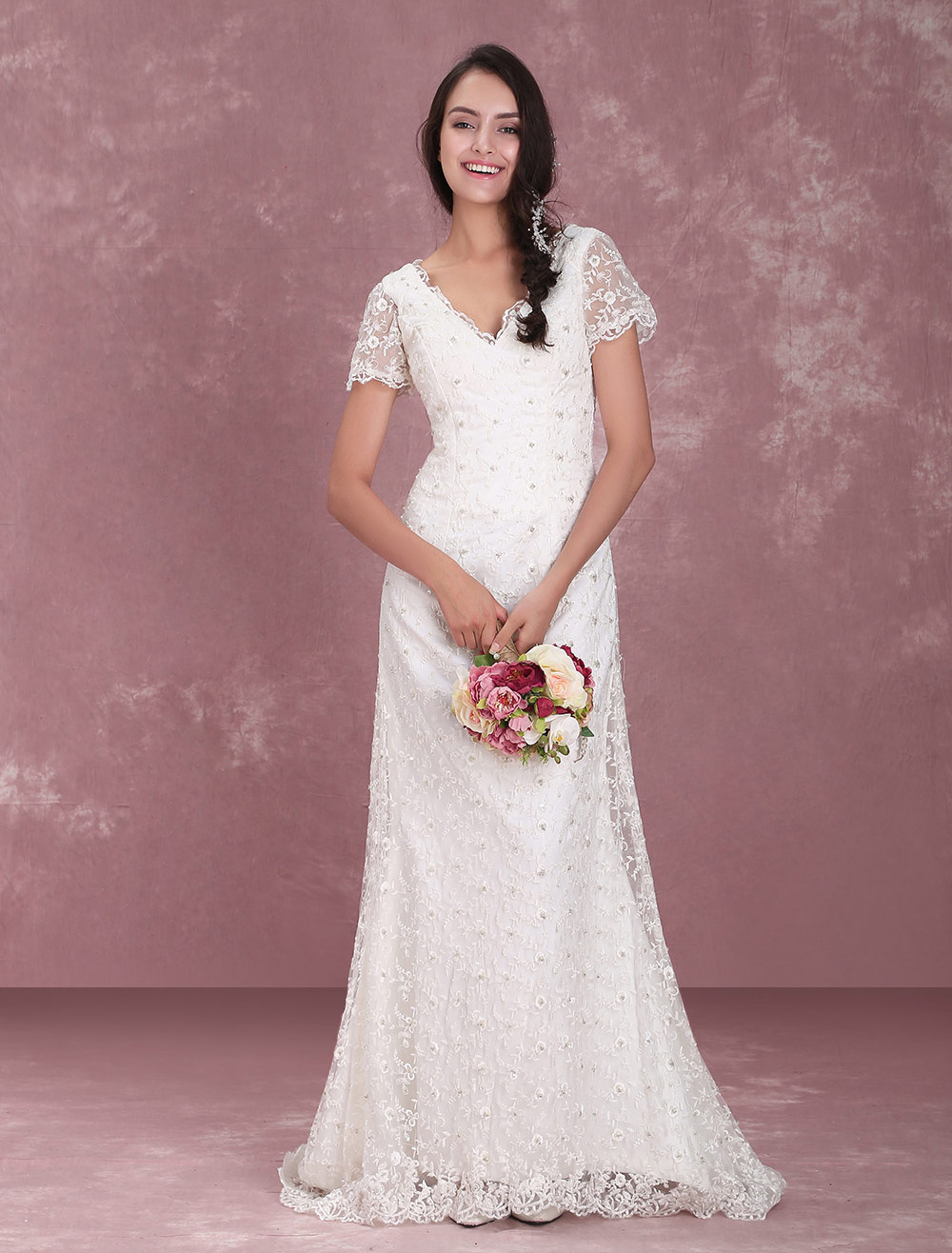 Ivory Lace V-Neck Glamorous Short Sleeve Wedding Dress