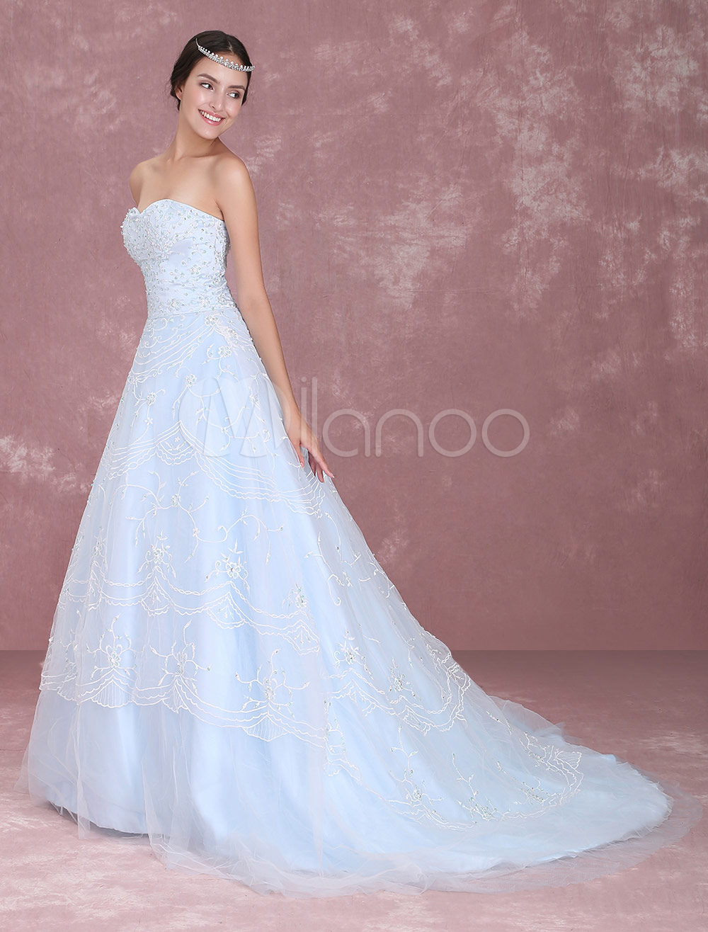 Blue Wedding Dress Lace Sweetheart Strapless Beading Court Train A-Line Bridal Gown Milanoo photo