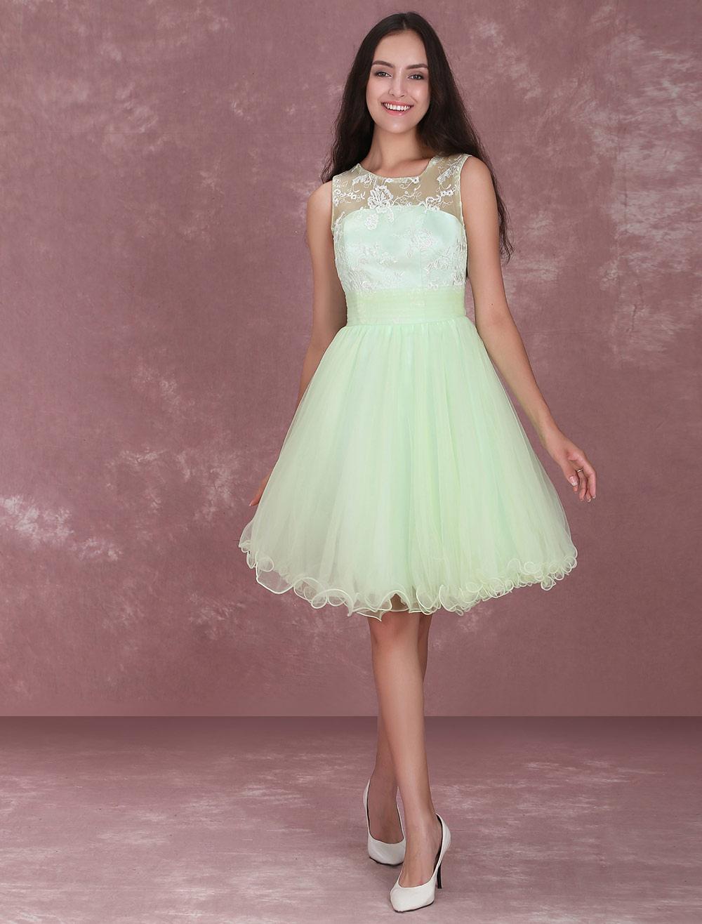 Light Green A-Line Lace Tulle Bridesmaid Dress (Wedding Bridesmaid Dresses) photo