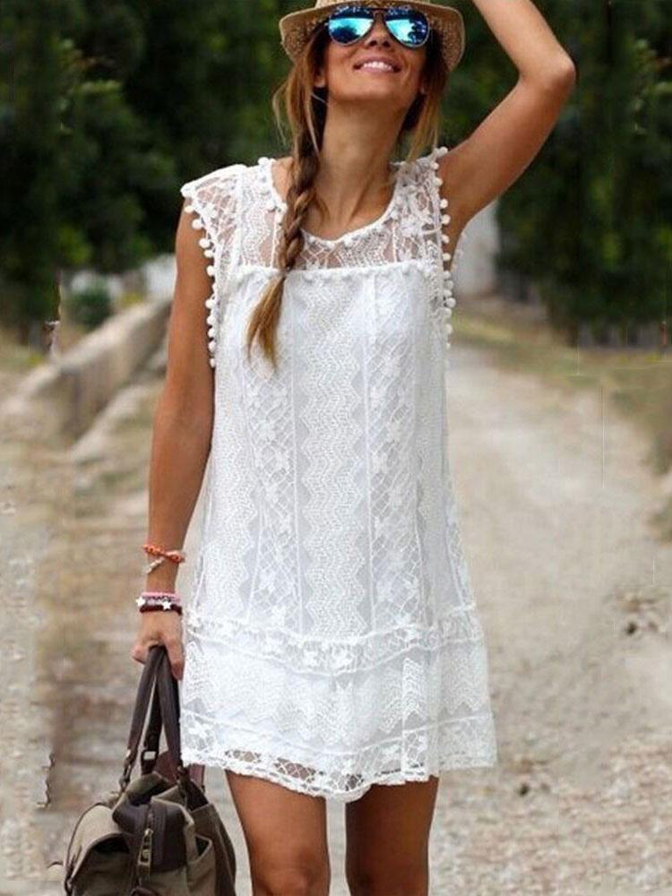 White Summer Dress Lace Sheer Sleeveless Mini Dress For Women (Women\\'s Clothing Summer Dresses) photo