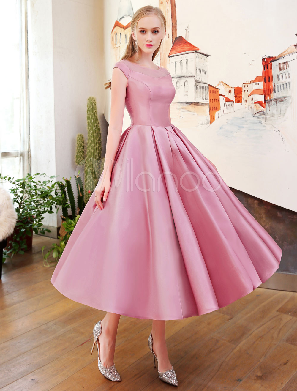 Short Prom Dresses Cameo Pink Satin Homecoming Dress Pleated 1950's Vintage Illusion Fit And Flare Tea Length Cocktail Party Dresses (Wedding) photo