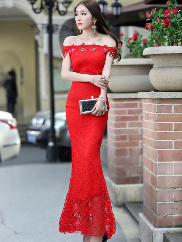 Mermaid Maxi Dress Red Off-The-Shoulder Lace Bodycon Dress (Women\\'s Clothing Lace Dresses) photo