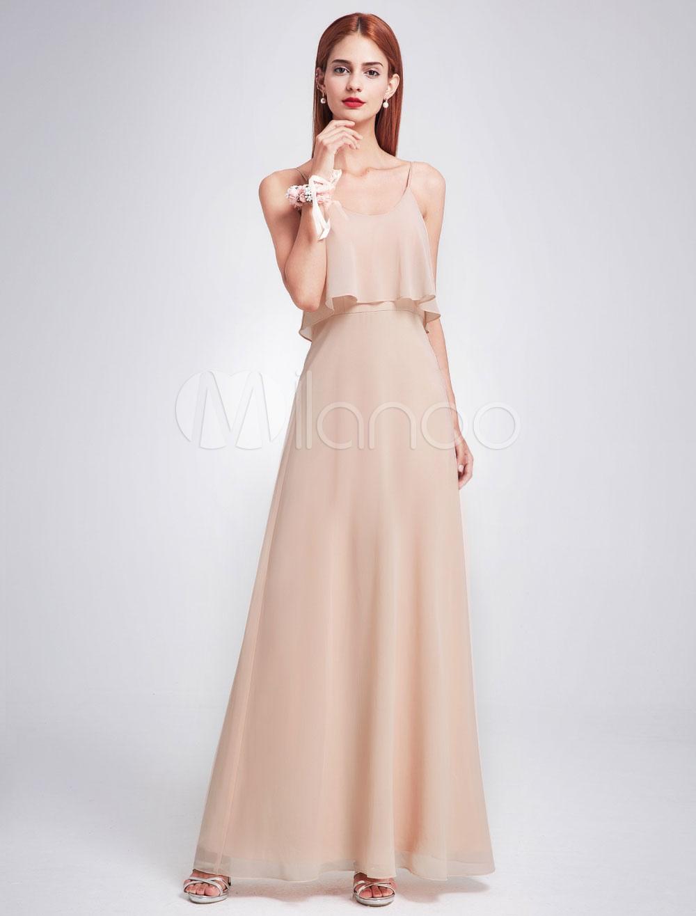 Champagne Bridesmaid Dress Long Chiffon Straps Sleeveless Ruffles Party Dresses A Line Floor Length Prom Dresses (Wedding) photo