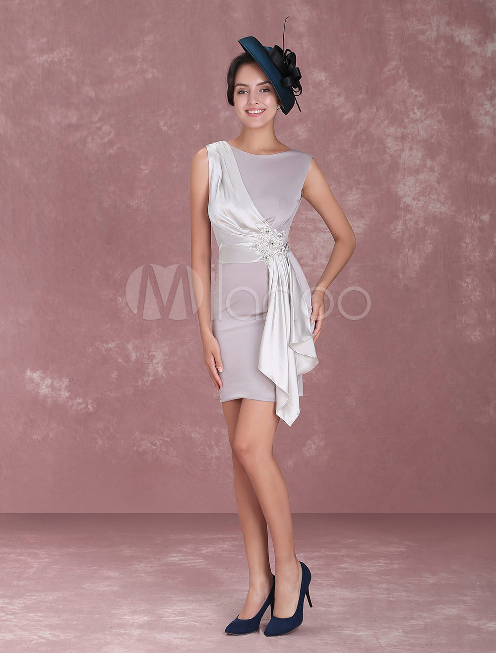 Mother Of The Bride Dresses Short Sheath Light Grey Cocktail Dress Elastic Silk Like Satin Ribbons Mini Wedding Guest Dresses photo