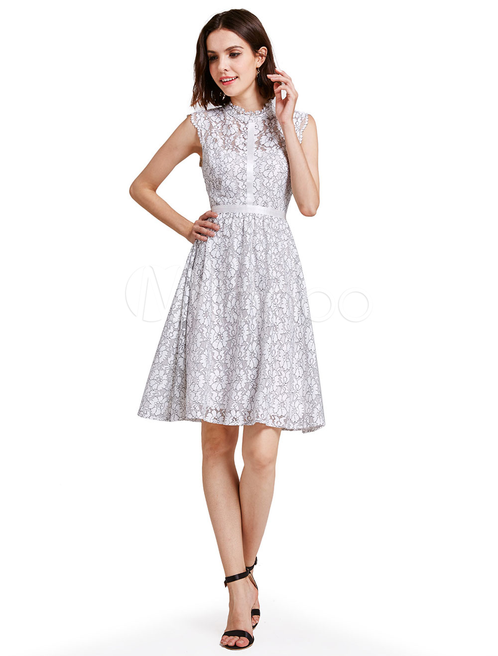 White Cocktail Dress Lace Round Neck Sleeveless Stand Collar Backless A Line Mini Party Dresses (Wedding Cocktail Dresses) photo