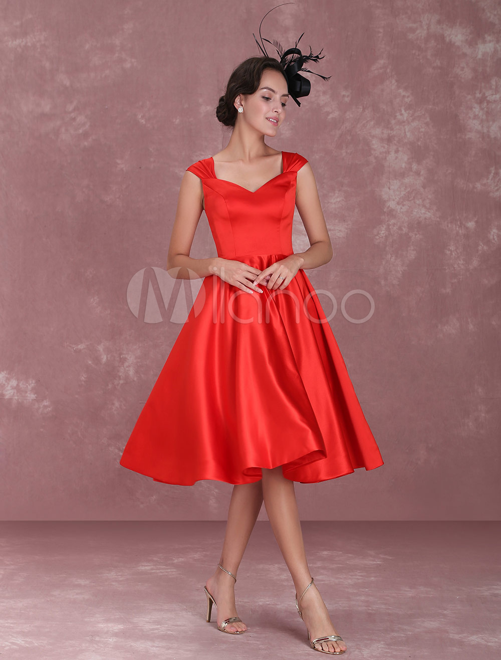 Red Cocktail Dresses 1950's Vintage Queen Anne Neckline Pleated A Line Party Dresses (Wedding) photo