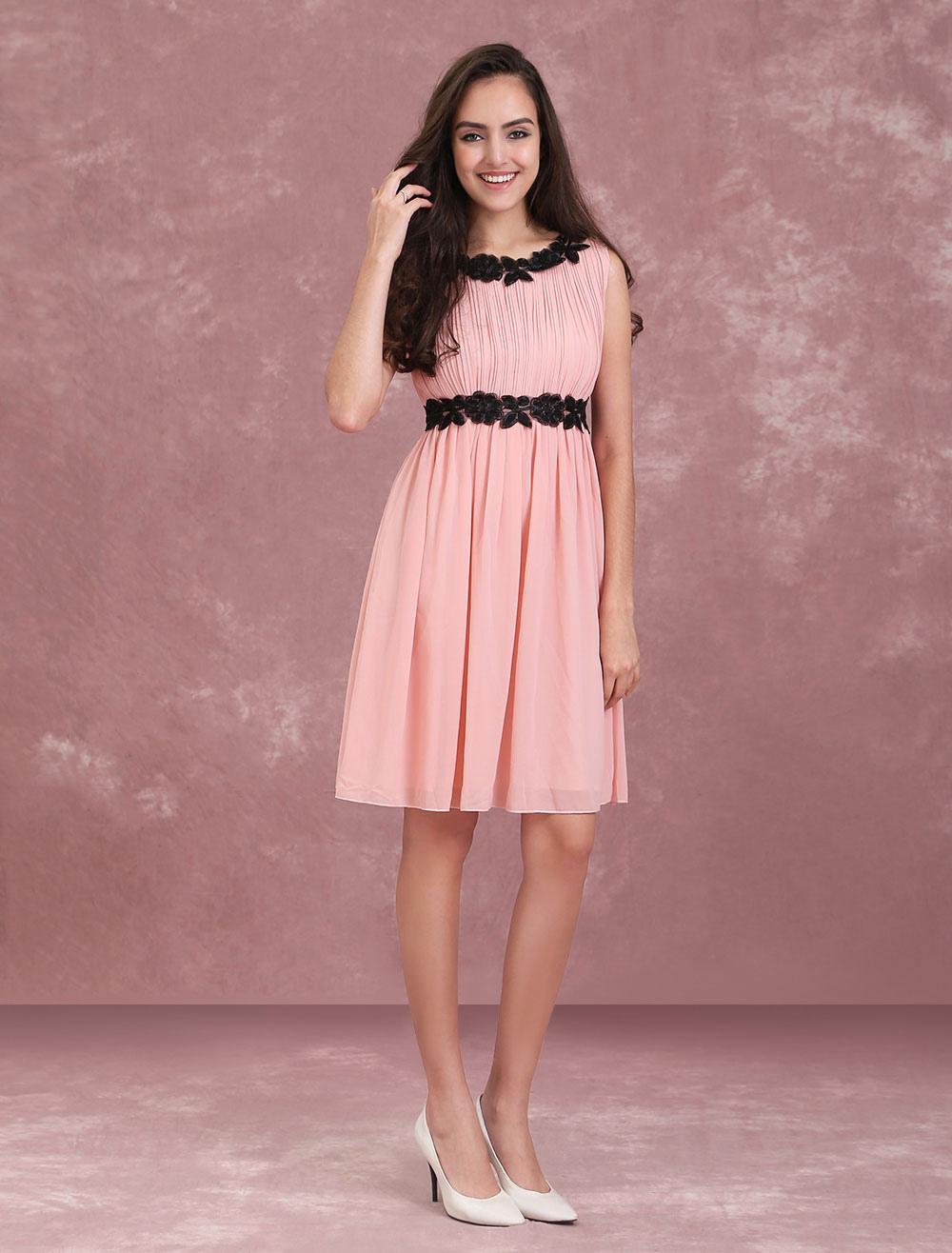 Pink Bridesmaid Dress Chiffon Cocktail Dress Lace Applique A Line Short Prom Dresses (Women\\'s Clothing Skater Dresses) photo