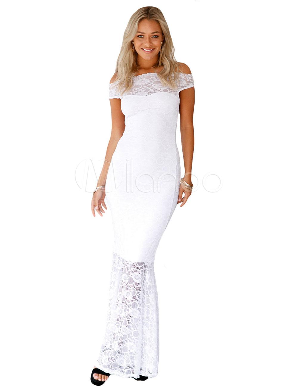 Lace Maxi Dress Off The Shoulders Short Sleeve Semi Sheer Pleated Mermaid Long Dress (Women\\'s Clothing Maxi Dresses) photo