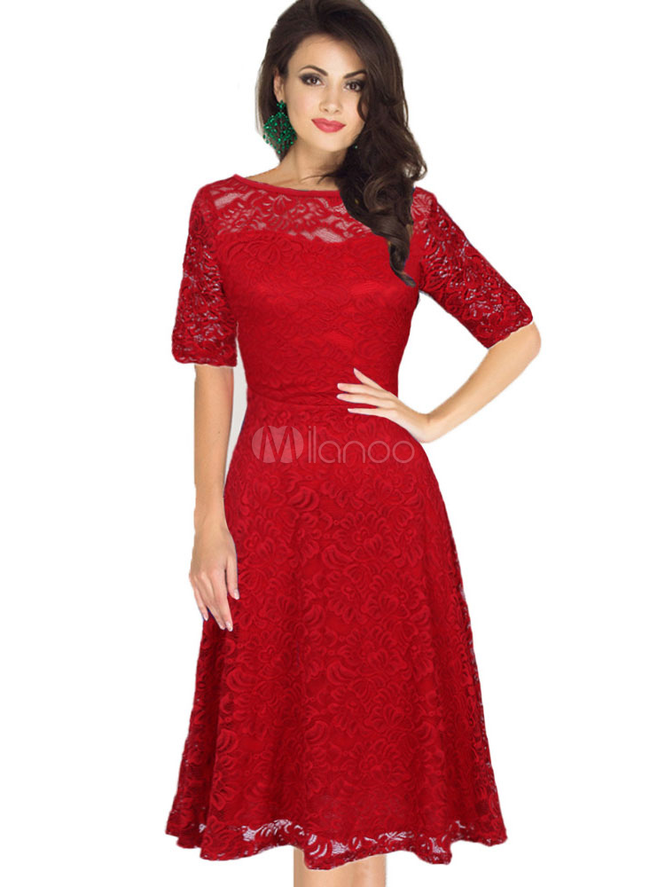 Red Lace Dress Vintage Style Women's Illusion Short Sleeve Bateau Retro Dress (Women\\'s Clothing Lace Dresses) photo