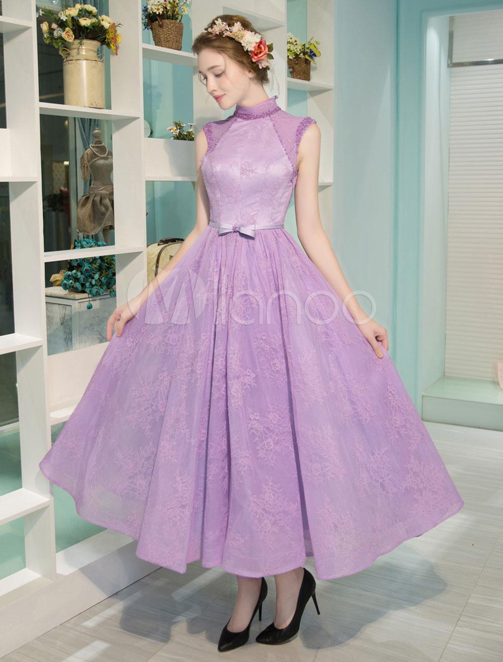 Luxury Cocktail Dresses Vintage Lace Fuchsia Pink High Collar Backless Bow Sash Short Tea Length Homecoming Dress (Wedding) photo
