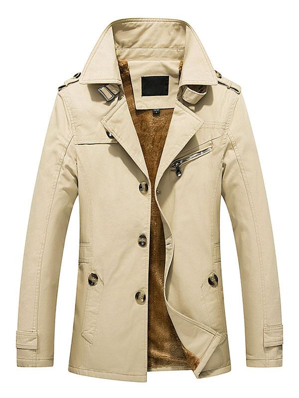 Light Apricot Turndown Collar Men's Coat thumbnail