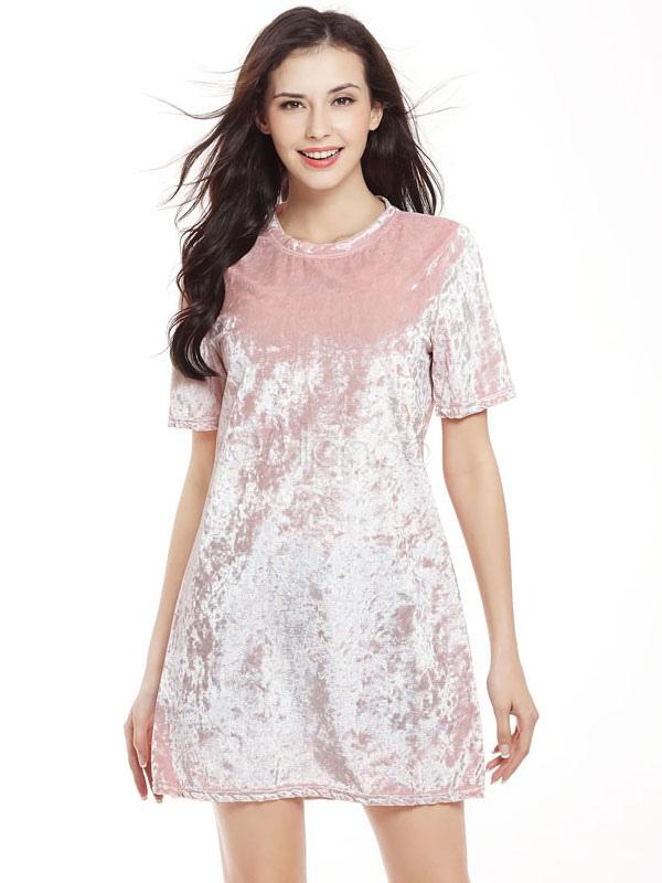 Pink Shift Dress Velvet Round Neck Short Sleeve Short Dress For Women (Women\\'s Clothing Shift Dresses) photo