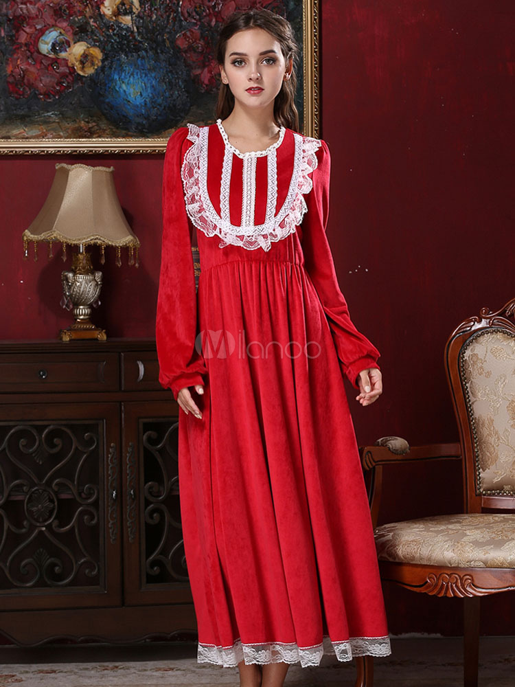 Red Maxi Dress Lace Embellished Long Sleeve Women Pajamas Gown (Women\\'s Clothing Maxi Dresses) photo