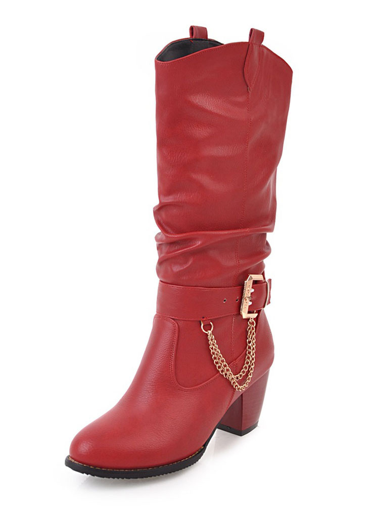 Women Wide Calf Boots Red Slip On Boots Round Toe Metal Detail Mid Calf Boots thumbnail