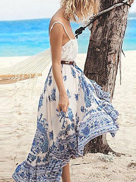 Women Skirt Boho Ethnic Print Tassel Ruffle Blue Mid Calf Skirt thumbnail