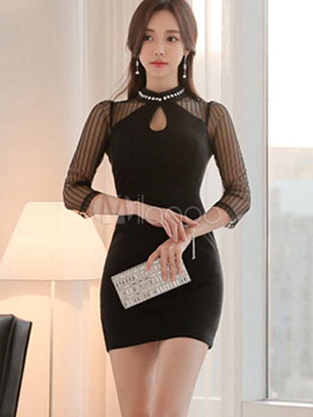 Women Bodycon Dress Black Short Dress Keyhole 3/4 Length Sleeve Pearls Slim Fit Sheath Dress (Women\\'s Clothing Bodycon Dresses) photo