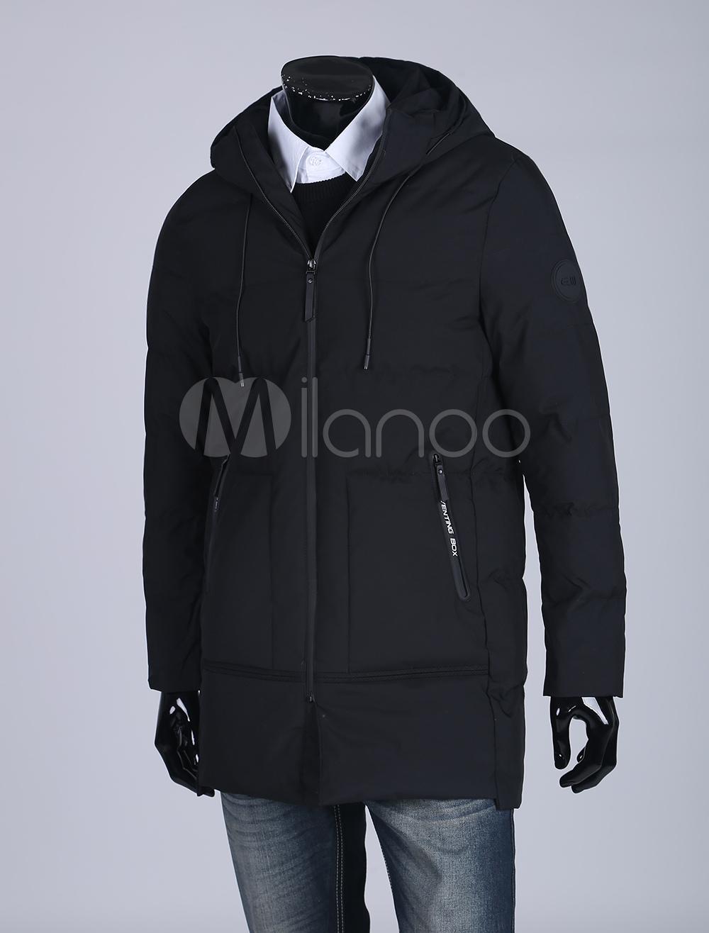 Black Parka Coat Men Quilted Coat Hooded Long Sleeve Zip Up Puffer Coat For Men thumbnail