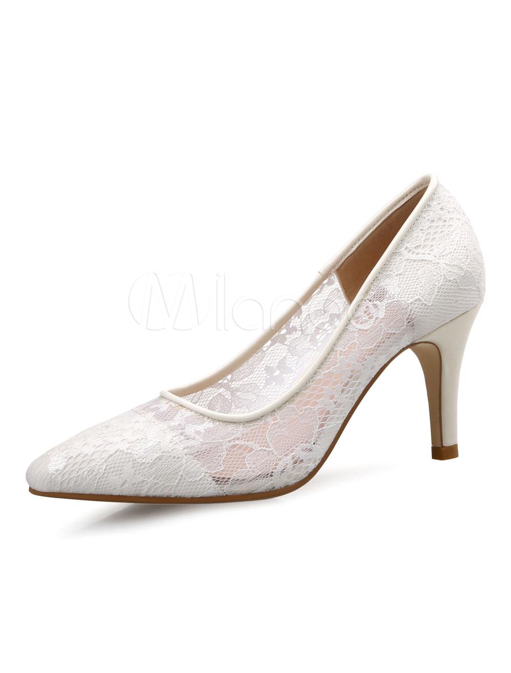 White Women Heels Pointed Toe Slip On Stiletto High Heel Lace Pumps thumbnail