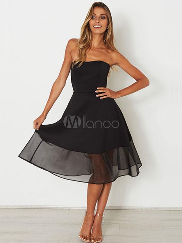 Little Black Dress Strapless Short Party Dress Layered Women Flared Dress (Women\\'s Clothing Skater Dresses) photo
