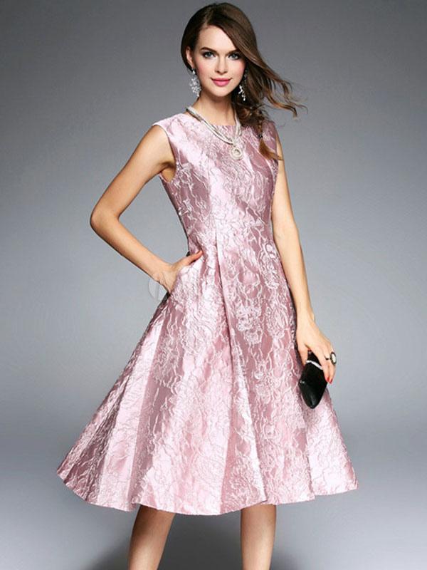 Women Vintage Dress Sleeveless Low Back Pleated Jacquard Pink Summer Dress (Women\\'s Clothing Vintage Dresses) photo