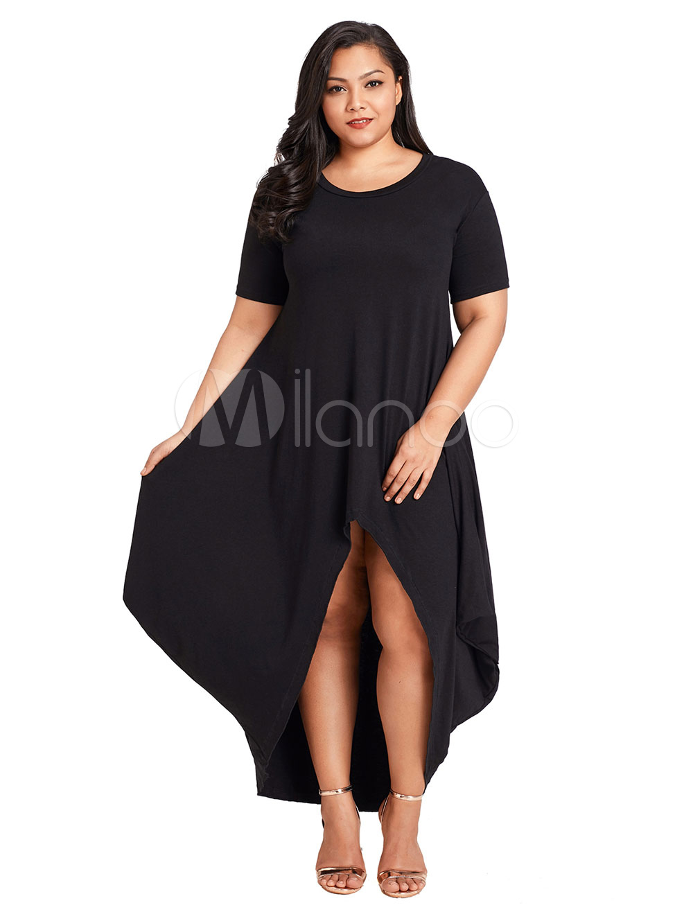 Plus Size Dress Black Short Sleeve High Low Women Summer Dress (Women\\'s Clothing Plus Size Clothing) photo
