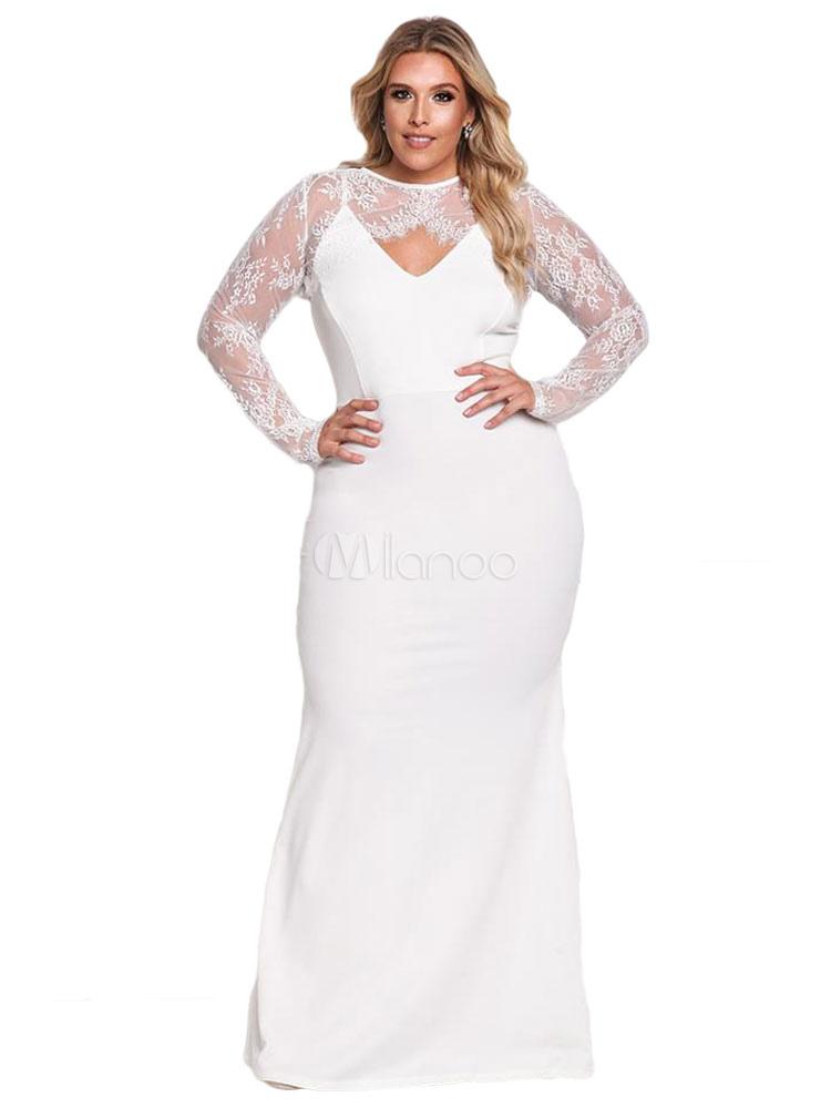 Plus Size Dress Long Sleeve Crewneck Bridal Lace Maxi Dress (Women\\'s Clothing Plus Size Clothing) photo